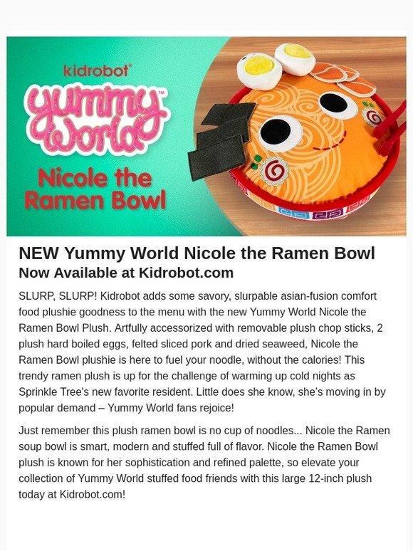 "w//Accessories Kidrobot Yummy World NICOLE the RAMEN BOWL 12/"" Plushie"