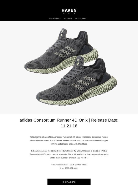 bf1f80b3c6e6f Haven  Releases  adidas Consortium Runner 4D Onix