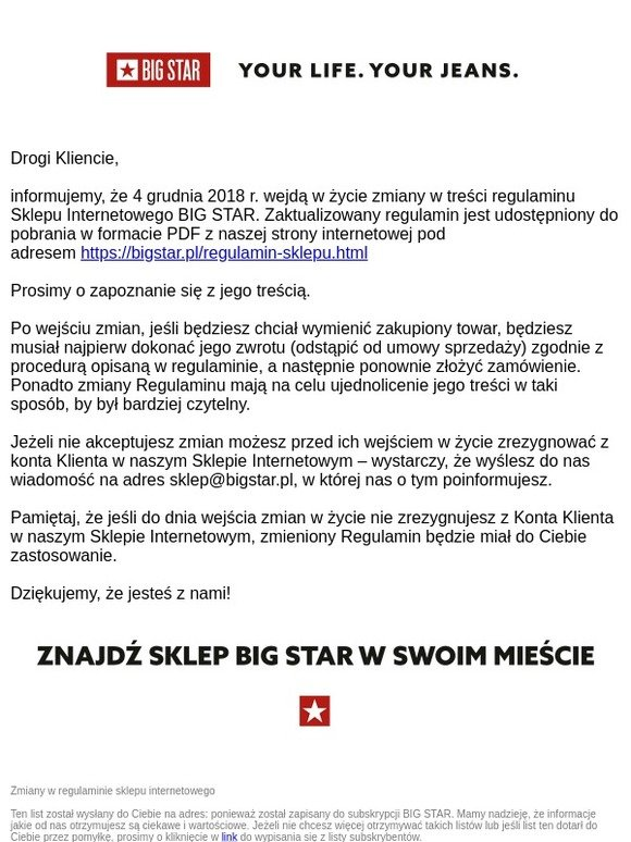 2d6e1cd4 BIG STAR JEANS: Zmiana regulaminu sklepu internetowego   BIG STAR ...