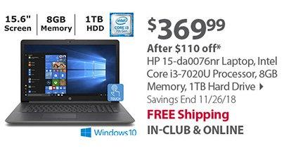 HP 15-da0076nr Laptop, Intel Core i3-7020U Processor, 8GB Memory, 1TB Hard Drive