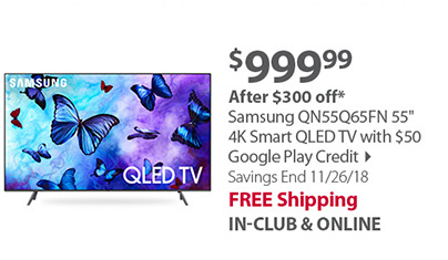 Samsung QN55Q65FN 55 4K Smart QLED TV with $50 Google Play Credit
