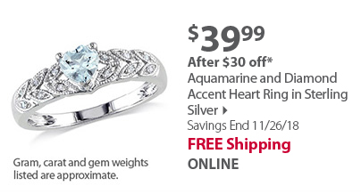 Aquamarine and Diamond Accent Heart Ring in Sterling Silver