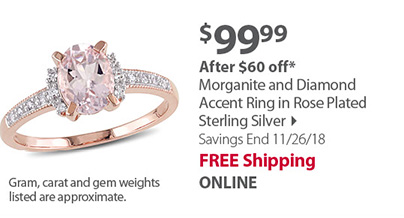 Morganite and Diamond Accent Ring in Rose Plated Sterling Silver