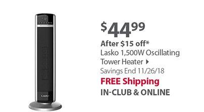 Lasko 1,500W Oscillating Tower Heater