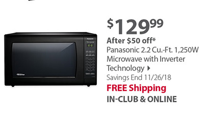 Panasonic 2.2 Cu.-Ft. 1,250W Microwave with Inverter Technology