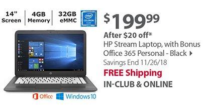HP Stream Laptop, Intel Celeron N3060 Processor, 4GB Memory, 32GB eMMC Drive with Bonus Office 365 Personal - Black