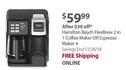 Hamilton Beach FlexBrew 2 in 1 Coffee Maker OR Espresso Maker