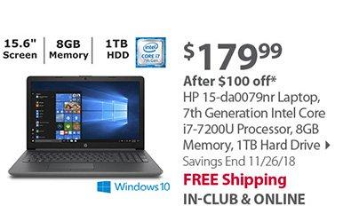 HP 15-da0079nr Laptop, 7th Generation Intel Core i7-7200U Processor, 8GB Memory, 1TB Hard Drive
