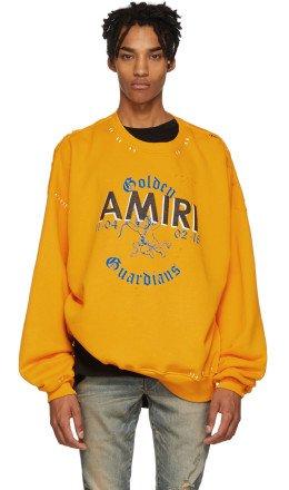 Amiri - Yellow Oversized Team Logo Sweatshirt