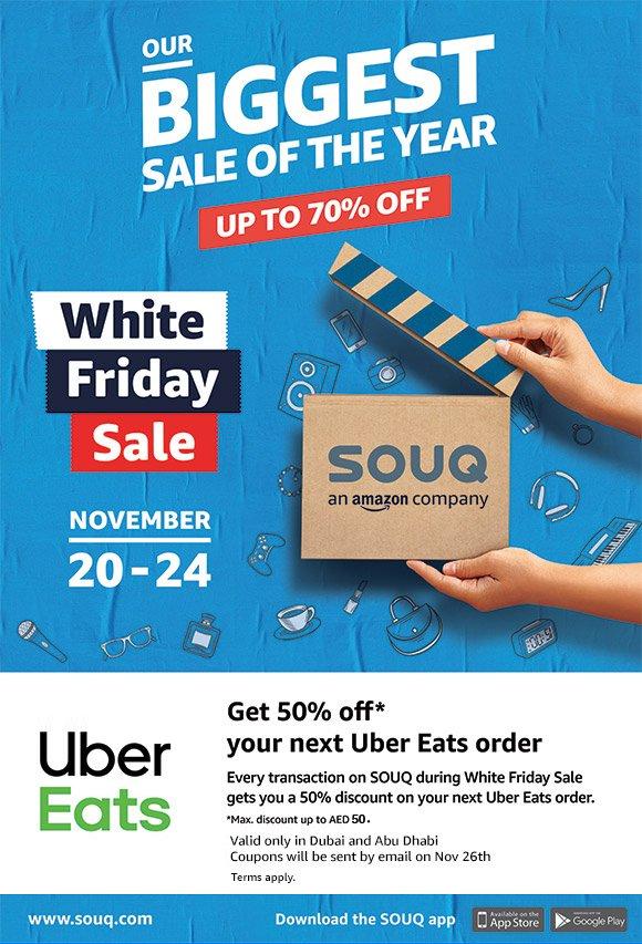 Souq: White Friday Sale | Get 50% off on Uber Eats | Milled