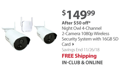 Night Owl 4-Channel 2-Camera 1080p Wireless Security System with 16GB SD Card
