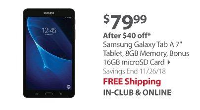 Samsung Galaxy Tab A 7 Tablet, 8GB Memory, Bonus 16GB microSD Card