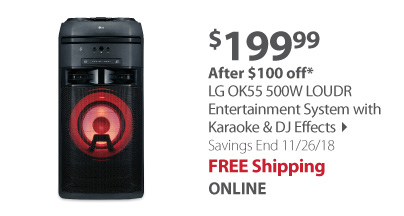 LG OK55 500W LOUDR Entertainment System with Karaoke & DJ Effects