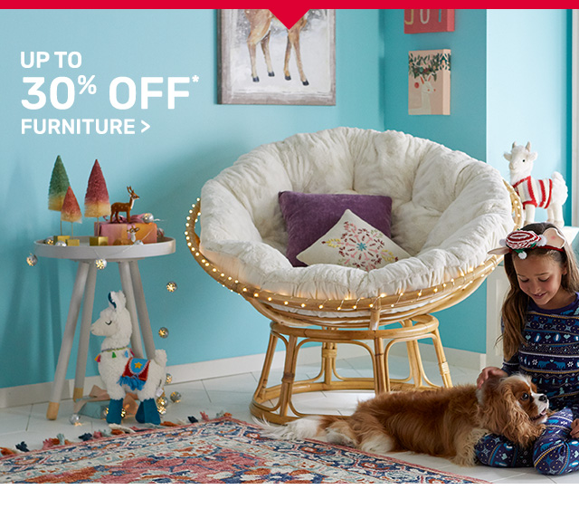 Get up to thirty percent off furniture.