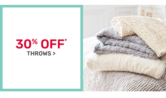 Shop thirty percent off throws.