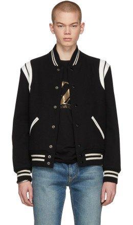 Saint Laurent - Black & White Teddy Bomber Jacket