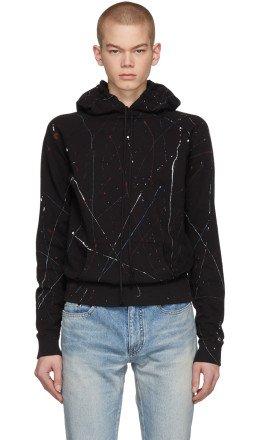 Saint Laurent - Black Paint Splatter Hoodie