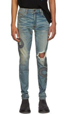 Amiri - Indigo Glitter Snake Broken Jeans
