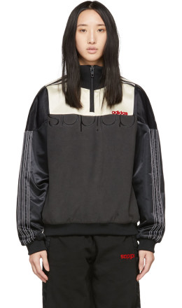 adidas Originals by Alexander Wang - Black & Off-White Disjoin Half-Zip Sweater
