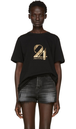 Saint Laurent - Black & Gold '24 Université' T-Shirt