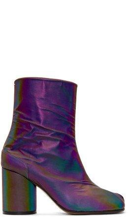 Maison Margiela - Black Reflective Tabi Boots