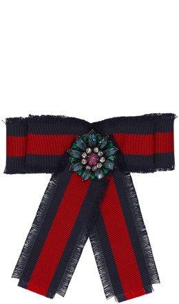 Gucci - Navy & Red Striped Ribbon Brooch