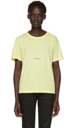 Saint Laurent - Yellow Rive Gauche Logo T-Shirt