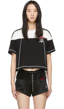 adidas Originals by Alexander Wang - Black & White Cropped Disjoin Jersey T-Shirt