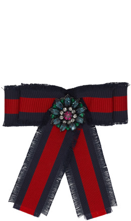 Gucci - Navy & Red Striped Ribbon Brooch
