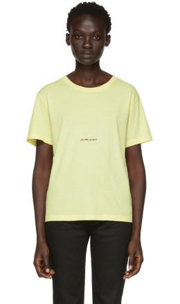 Saint Laurent - Yellow Rive Gauche Logo T-Shirt