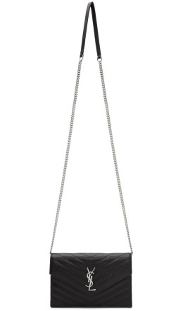 Saint Laurent - Black & Silver Monogramme Envelope Chain Bag
