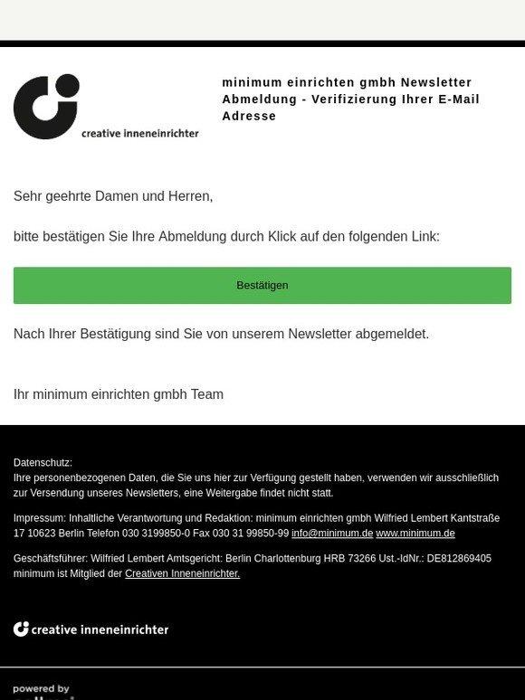 Minimum De Minimum Einrichten Gmbh Newsletter Abmeldung