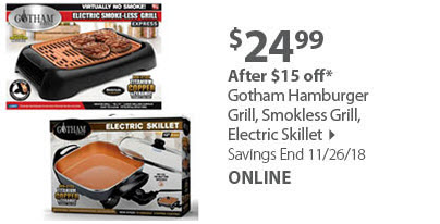 Gotham Hamburger Grill, Smokless Grill, Electric Skillet
