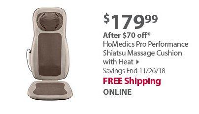 HoMedics Pro Performance Shiatsu Massage Cushion with Heat