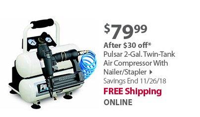 Pulsar 2-Gal. Twin-Tank Air Compressor With Nailer/Stapler