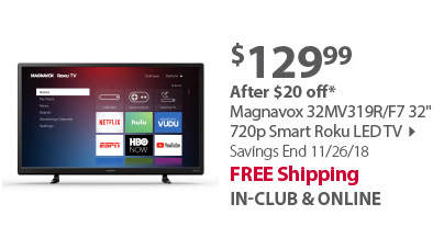 Magnavox 32MV319R/F7 32 720p Smart Roku LED TV