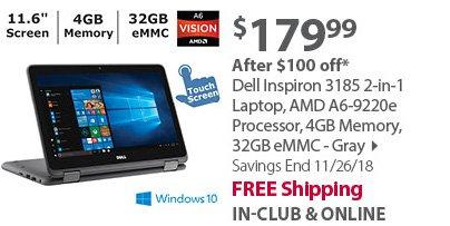 Dell Inspiron 3185 2-in-1 Laptop, AMD A6-9220e Processor, 4GB Memory, 32GB eMMC - Gray