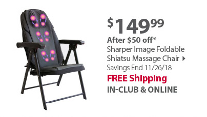 Sharper Image Foldable Shiatsu Massage Chair