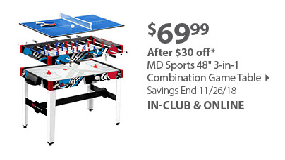 MD Sports 48 3-in-1 Combination Game Table
