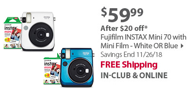 Fujifilm INSTAX Mini 70 with Mini Film - White OR Blue