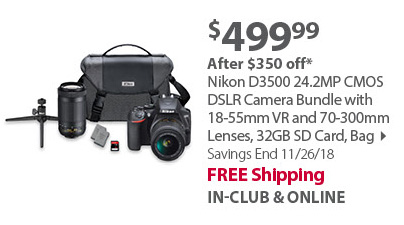 Nikon D3500 24.2MP CMOS DSLR Camera Bundle with 18-55mm VR and 70-300mm Lenses, 32GB SD Card, Bag