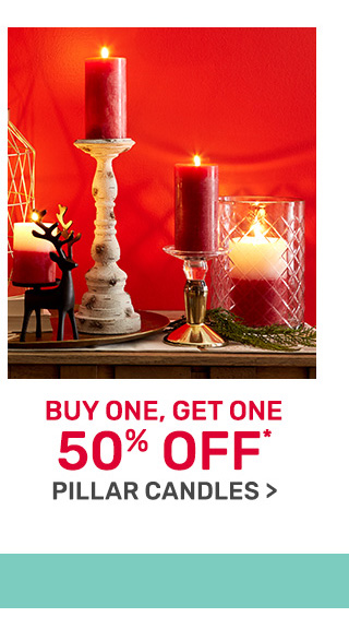 Buy one get one fifty percent off candles.