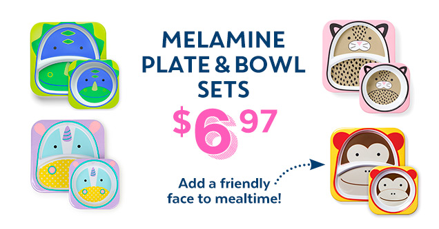 Melamine plate & bowl sets $6.97 | Add a friendly face to mealtime!