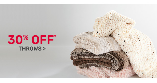 Thirty percent off throws.