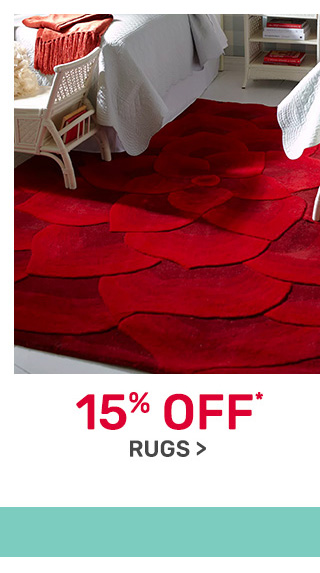 Rugs now fifteen percent off.