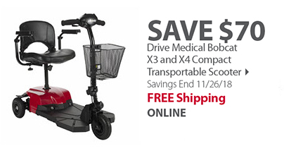 Drive Medical Bobcat X3 or X4 4-Wheel Compact Transportable Scooter - Red