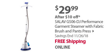 SALAV GS06-DJ Performance Garment Steamer with Fabric Brush and Pants Press