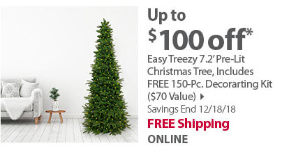 Easy Treezy 7.2' Pre-Lit Christmas Tree with 150-Pc. Free Decorating Kit
