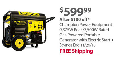 Champion Power Equipment 9,375W Peak/7,500W Rated Gas-Powered Portable Generator with Electric Start