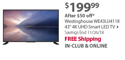 Westinghouse WE43UJ4118 43 4K UHD Smart LED TV